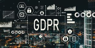 GDPR with downtown LA. GDPR with downtown Los Angeles at night stock photography