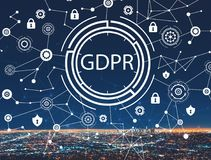 GDPR with downtown LA. GDPR with downtown Los Angeles at night royalty free stock photography