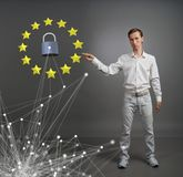 GDPR or DSGVO concept. General Data Protection Regulation, the protection of personal data. Young man working with. A virtual interface Royalty Free Stock Photos