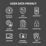 GDPR e ícone da política de privacidade ajustado com fechamentos, cadeado e protetor ilustração stock