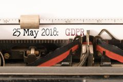GDPR EU General Data Protection Regulation and commencement date written on manual typewriter. GDPR EU General Data Protection Regulation and commencement date royalty free stock photo