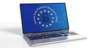 GDPR, Europa Allgemeine Daten-Schutz-Regelung auf dem Laptopschirm lokalisiert auf weißem Hintergrund Abbildung 3D Lizenzfreies Stockbild