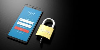 GDPR, Europa Allgemeine Daten-Schutz-Regelung auf einem Smartphone lokalisiert auf weißem Hintergrund Abbildung 3D Stockfotografie