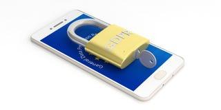 GDPR, Europa Regolamento generale di protezione dei dati su uno smartphone isolato su fondo bianco illustrazione 3D Immagine Stock