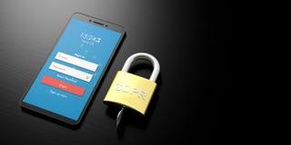GDPR, Europa Regolamento generale di protezione dei dati su uno smartphone isolato su fondo bianco illustrazione 3D Fotografia Stock