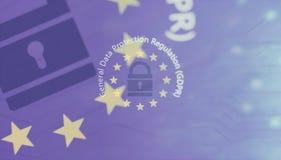 GDPR, Europa Vorgeschriebener Text des allgemeine Daten-Schutzes auf EU-Flagge Abbildung 3D vektor abbildung