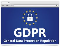 GDPR - General Data Protection Regulation. Web browser with padl royalty free stock photography