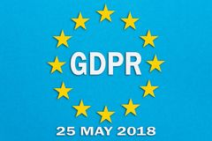GDPR and the European Union flag on blue background. The illustration in papercut technique.General Data Protection Regulation con. Cept Royalty Free Stock Photography