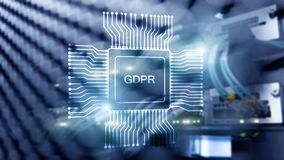 GDPR general data protection regulation. Abstract double exposure server room. Blue Technology Background.