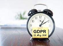 GDPR General Data Protection Regulation. Alarm clock with text GDPR General Data Protection Regulation Stock Images