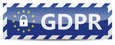 GDPR - General Data Protection Regulation. Banner with EU stars stock images
