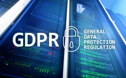 GDPR, General data protection regulation compliance. Server room background Royalty Free Stock Image