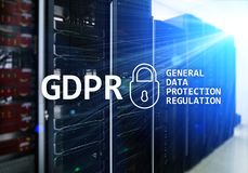GDPR, General data protection regulation compliance. Server room background Royalty Free Stock Photo