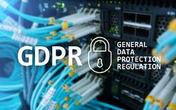 GDPR, General data protection regulation compliance. Server room background Stock Photos
