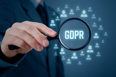 GDPR concept. GDPR general data protection regulation concept. Businessman or IT technologist focus on GDPR problematics. Sensitive personal information Royalty Free Stock Image