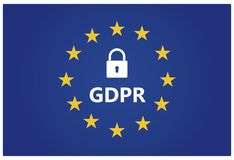 GDPR - General Data Protection Regulation. EU flag with stars an royalty free stock photos