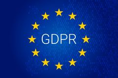 GDPR - General Data Protection Regulation. Vector. GDPR - General Data Protection Regulation. EU map and flag. Vector illustration Royalty Free Stock Photography