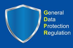 Gdpr general data protection regulation. Eu safeguard regulations and data encryption vector concept background.  royalty free illustration