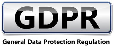 GDPR - General Data Protection Regulation. Glossy banner with sh. GDPR - European General Data Protection Regulation. Illustration for new EU rule stock illustration