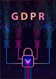 GDPR - General Data Protection Regulation and lock on background of matrix code. vector illustration