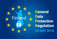 GDPR - General Data Protection Regulation. Map of Finland, EU flag. vector. Illustration Stock Photos