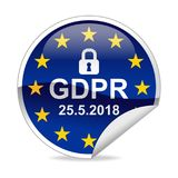 GDPR General Data Protection Regulation  Notification Sticker Stock Images