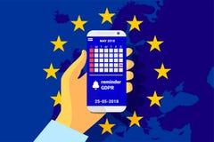 GDPR - General Data Protection Regulation. Security technology background. Vector stock illustration