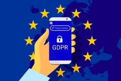 GDPR - General Data Protection Regulation. Security technology background. Vector. GDPR - General Data Protection Security technology background. Regulation stock illustration