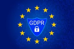 GDPR - General Data Protection Regulation. Vector. GDPR - General Data Protection Regulation. EU map and flag, shield. Vector illustration Stock Photography