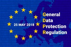 GDPR - General Data Protection Regulation. Vector. GDPR - General Data Protection Regulation. EU map and flag. Data 25 may 2018 Vector illustration Royalty Free Stock Photography