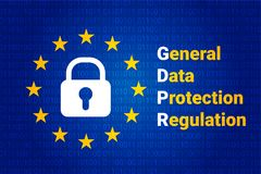 GDPR - General Data Protection Regulation. Vector. GDPR - General Data Protection Regulation. Text: Are you ready for GDPR. EU flag. Vector illustration royalty free illustration