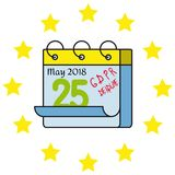 GDPR - General Data Protection Regulation, word abbreviation, calendar deadline. Stars circle flag Royalty Free Stock Photography