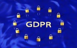 GDPR-Gold Padlocks die Formung von EU kennzeichnen und beschriften GDPR Stockfoto