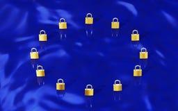 GDPR-Goldvorhängeschlösser, die EU-Flagge bilden Stockbilder