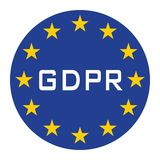 GDPR icon for web isolate blue white text stock illustration