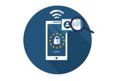 GDPR Illustration plate de vecteur Règlement général de protection des données Protection d'information personnelle illustration de vecteur