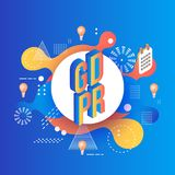 GDPR isometric text design on bright abstract background with geometric shapes and textures. GDPR text design and calendar with light bulbs in isometric vector illustration