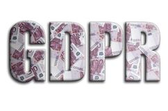 GDPR La inscripción tiene una textura de la fotografía, que representa muchas 500 cuentas de dinero euro ilustración del vector