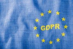 GDPR listy z UE podpisują na błękitnej falistej tkaninie zdjęcia stock
