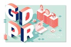 GDPR, Ogólnych dane ochrony przepisu zgodność Isometric osobisty dane ochrony sieci sztandaru pojęcie Obrazy Royalty Free