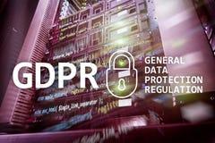 GDPR, Ogólnych dane ochrony przepisu zgodność Serweru pokoju tło Zdjęcie Stock