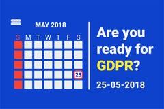 GDPR - Proteção de dados geral Texto: É você apronta-se para GDPR calendário com lembrete Vetor Imagem de Stock Royalty Free
