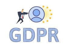 GDPR protection and compliance. Personal data security. Man pushing personal account towards European Union stars. Flat. Vector illustration. Isolated on white Stock Image