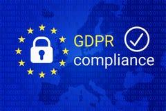 GDPR - Règlement général de protection des données Symbole de conformité de GDPR Vecteur illustration libre de droits