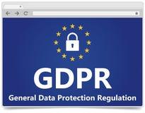 GDPR - Règlement général de protection des données Web browser avec le padl photographie stock libre de droits