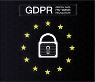 GDPR - REGLERING FÖR SKYDD FÖR ALLMÄNNA DATA Cybersäkerhet och avskildhet också vektor för coreldrawillustration stock illustrationer