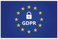 GDPR - Reglering för skydd för allmänna data EU sjunker med stjärnor Royaltyfria Foton