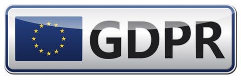 GDPR - Reglering för skydd för allmänna data Glansigt baner med EU Royaltyfri Bild