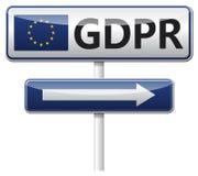GDPR - Reglering för skydd för allmänna data trafik för tecken för röda band för omvägrampekare träungefärlig Royaltyfria Foton