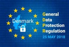 GDPR - Regulación general de la protección de datos El mapa de Dinamarca, UE señala por medio de una bandera Vector libre illustration